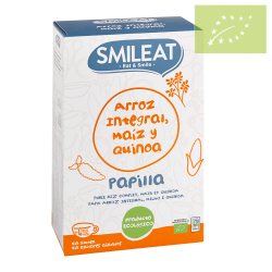 Papilla ecológica de arroz integral, maíz y quinoa. Sin Gluten 230g