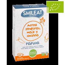Papilla ecológica de arroz integral, maíz y quinoa. Sin Gluten 230g