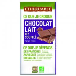 Chocolate leche arroz inflado Ecológico 100g